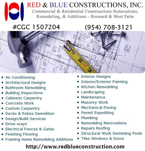 Red & Blue Constructions, Inc. - General Contractors, Commercial & Residential Construction & Renovations,