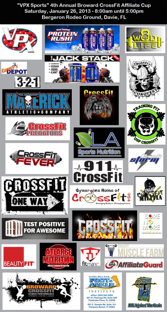 """VPX Sports"" 4th Annual Broward CrossFit Affiliate Cup Sponsors"