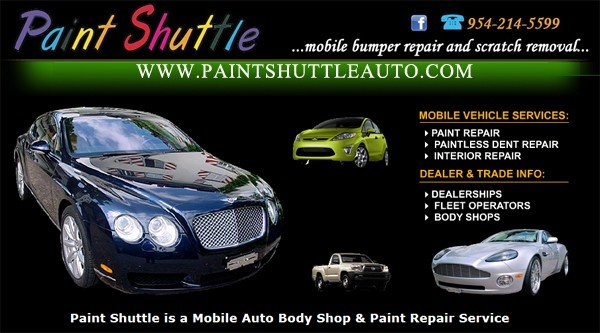 Auto Dent Repairs Removing Auto Paint Scratches - Paint Shuttle - Miami, Broward, Palm Beach