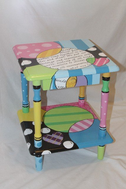 Fun colorful hand painted furniture