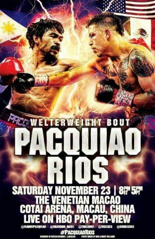 Rios vs  Pacquiao Poster Welterweight Boxing   Pacquiao vs Rios at Rickeys Bar  Grill
