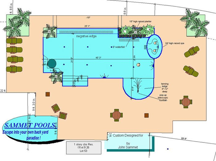 PoolDrawing Boca Raton Pool Builder   Sammet Pools