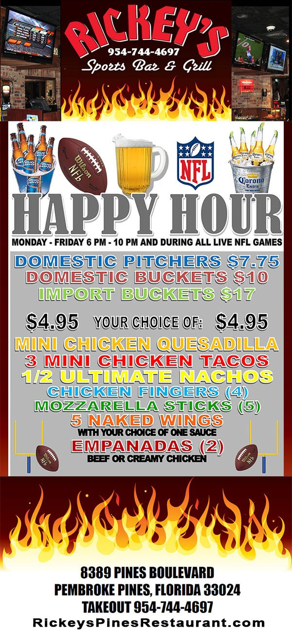 NFL HappyHour1 NFL   Happy Hour   Pembroke Pines   Rickeys Sports Bar  Grill