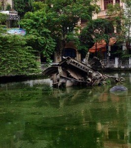 Remnants of a B52 Bomber in a residential area of Hanoi