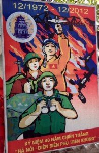Wartime poster at Lake B52 in Hanoi