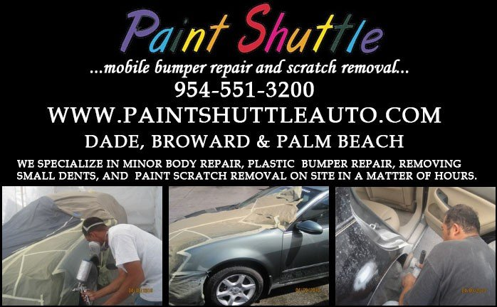 We specialize in minor body repair, plastic bumper repair, removing small dents, and paint scratch removal on site in a matter of hours - cover Broward and Palm Beach counties.