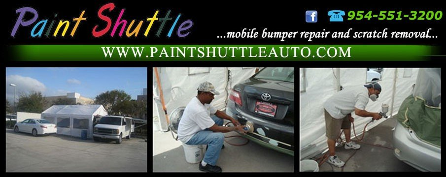 Boca Dent Removal -  Auto Scratch Repairs by Paint Shuttle offering a mobile body shop service to repair your minor vehicle damages like scratches, dents and dings