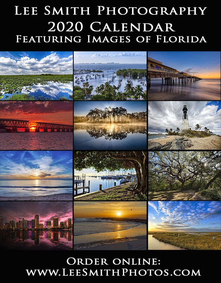 2020 Photo Calendar featuring images taken in Florida by photographer Lee Smith