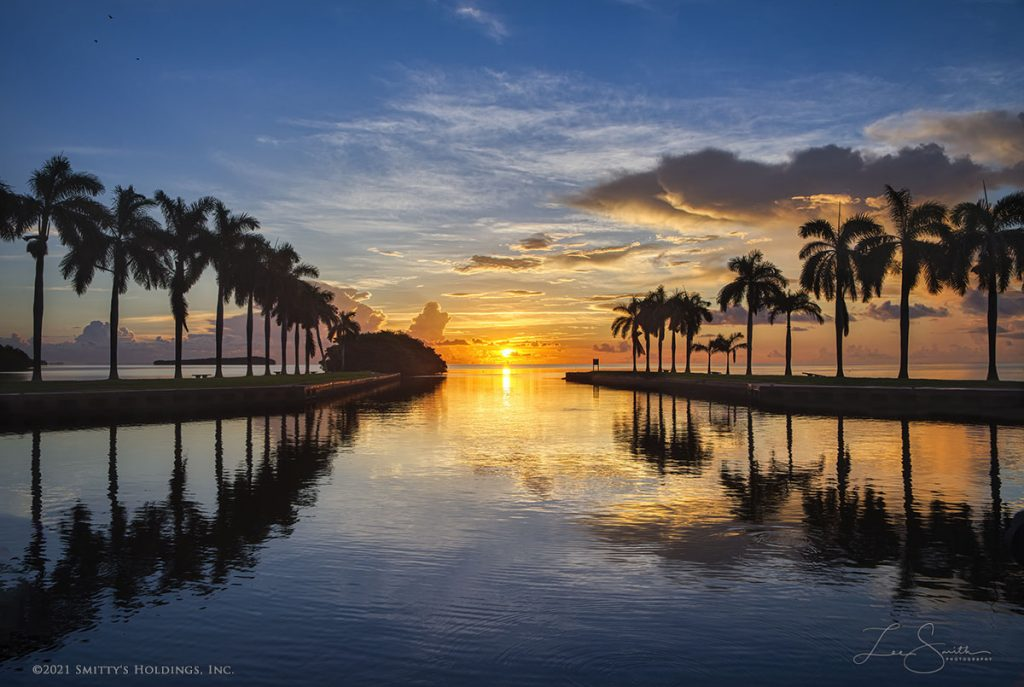 The sun just rose above the horizon at the Deering Estate on this day - the Fall Equinox, when the sun rises in the middle of the boat basin. Creating an incredible sunrise photograph